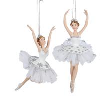 Kurt Adler Silver & White Ballet Ornament, 2 Assorted #C8869
