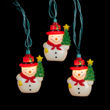 Kurt Adler UL 10-Light Snowman with Tree Light Set #UL4285