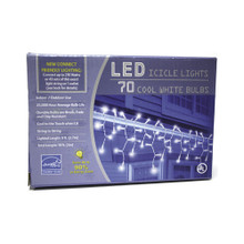 70 LED Mini Lighted Icicle Set in Cool White Bulbs and White Wire