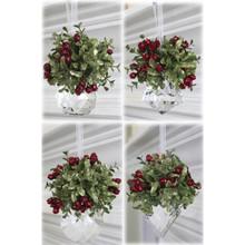 Mistletoe Kissing Krystal Ornament, 4 Assorted in Evergreen #KK10