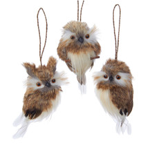 Kurt Adler 4in Brown Hanging Owl Ornament, 3 Assorted #C2279