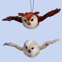 Kurt Adler 7in Buri Flying Owl Ornament, 2 Assorted #S0730
