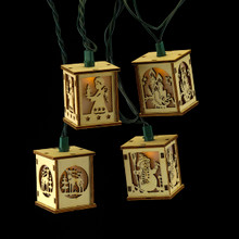 Kurt Adler UL 10-Light Wood Lantern Light Set #UL0136