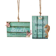 Kurt Adler Wooden Beach Sign Ornament #C5448