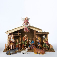 Kurt Adler 12-Piece 1.5-6in Nativity Figures and Wooden Stable #N1005