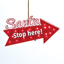 Kurt Adler Santa Stop Here LED Blinking Ornament #C0483