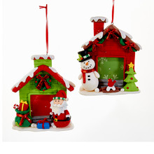 Kurt Adler 5in Snowman or Santa Photo Frame Ornaments #D2882