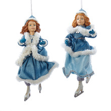 Kurt Adler 9.25in Teal with White Fur Skater Ornament, 2 Asstd #T1936
