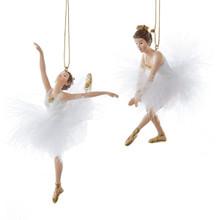 Kurt Adler 5.5in White & Gold Ballerina Ornament, 2 Assorted #C9233