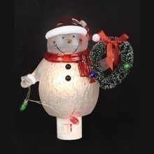 Snowman Night Light with Wreath LED Color Bulbs #164015