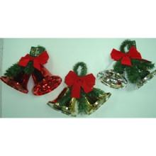 Bell Decoration with Garland Loop, 3 Assorted #3940A