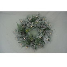 "24"" Frosty Woods Pine Wreath, LED lights, Battery-Operated #MTX53505L"