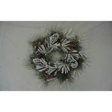 "24"" Snow Pine Berry Cones Wreath, LED, Battery-Operated #MTX53533L"
