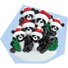 Rudolph & Me Bamboo Panda Family of 6 Personalized Ornament #1207-6