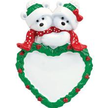 Rudolph & Me Polar Bear Couple Personalized Ornament #1228