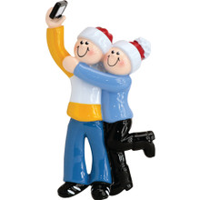 Rudolph & Me Selfie Couple Personalized Ornament #1603-2