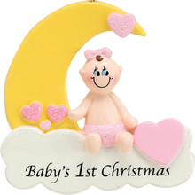 Rudolph & Me Baby Girl On Cloud Personalized Ornament #912G