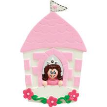 Rudolph & Me Brunette Princess In Castle Personalized Ornament #913B