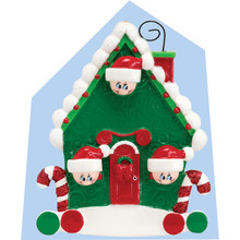 Rudolph & Me Candy Cane House Family of 3 Personalized Ornament #994-3