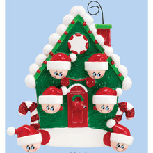 Rudolph & Me Candy Cane House Family of 6 Personalized Ornament #994-6