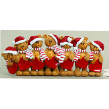 Rudolph & Me 7 Stocking Cap Bears Family Personalized Ornament #TT205-7