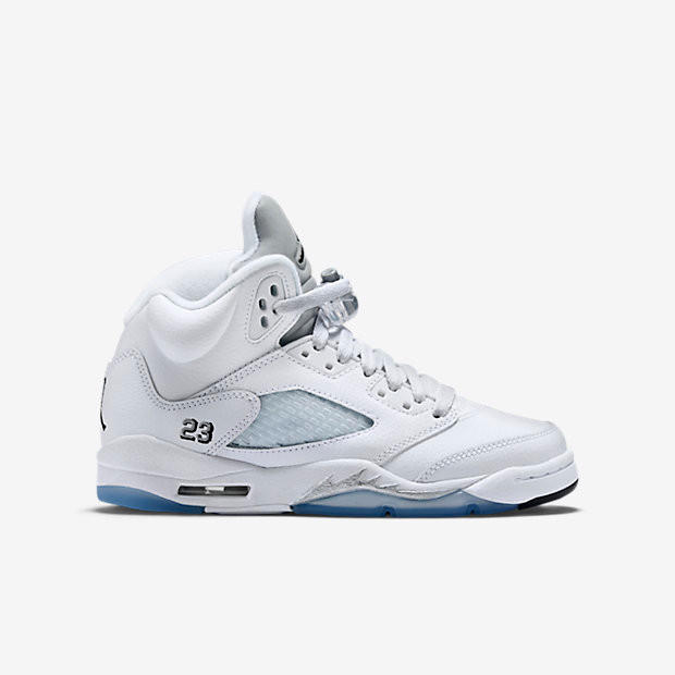9d4725be9c0d Nike Air Jordan 5 GS - Metallic White  440888-130. Image 1. Loading zoom