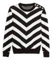 Balmain For H&M Jacquard Knit Cotton Sweater - Black/White Striped #24-4833