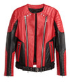 Balmain For H&M Leather Biker Jacket - Red #24-4067