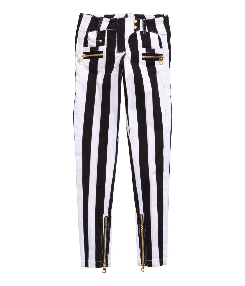 ade34020 Balmain For H&M Block Striped Jeans - Black/White Striped #24-3839. Image  1. Loading zoom