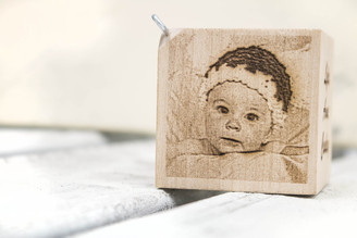 Photo Engraved Baby Block Ornament