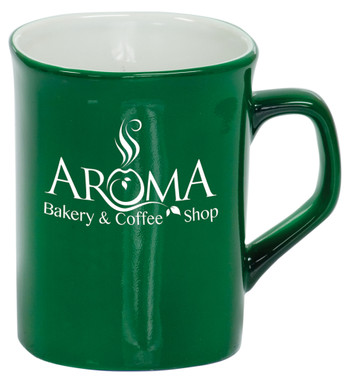 Personalized and Laser Engraved Ceramic Coffee Mug - Green