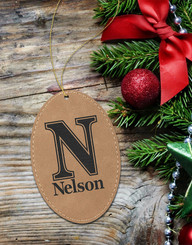 Personalized Leather Oval Ornament