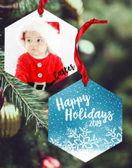 Personalized Blue Christmas Double Sided Ornament