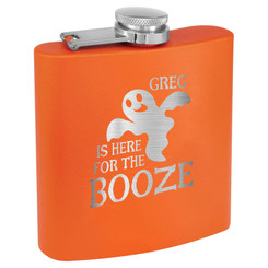 "Personalized ""Here for the Booze"" Stainless Steel Flask"