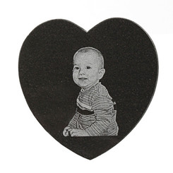 Photo Engraved Heart Marble Tile