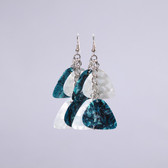 Chandelier II Teal & White Earring's