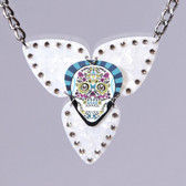 Mosaic Skull Pendant Teal Necklace