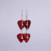 Crystals Red Double Pick Earring's