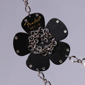 Flower Pendant Black Necklace