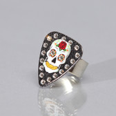 Guitar Pick Ring Skull Black