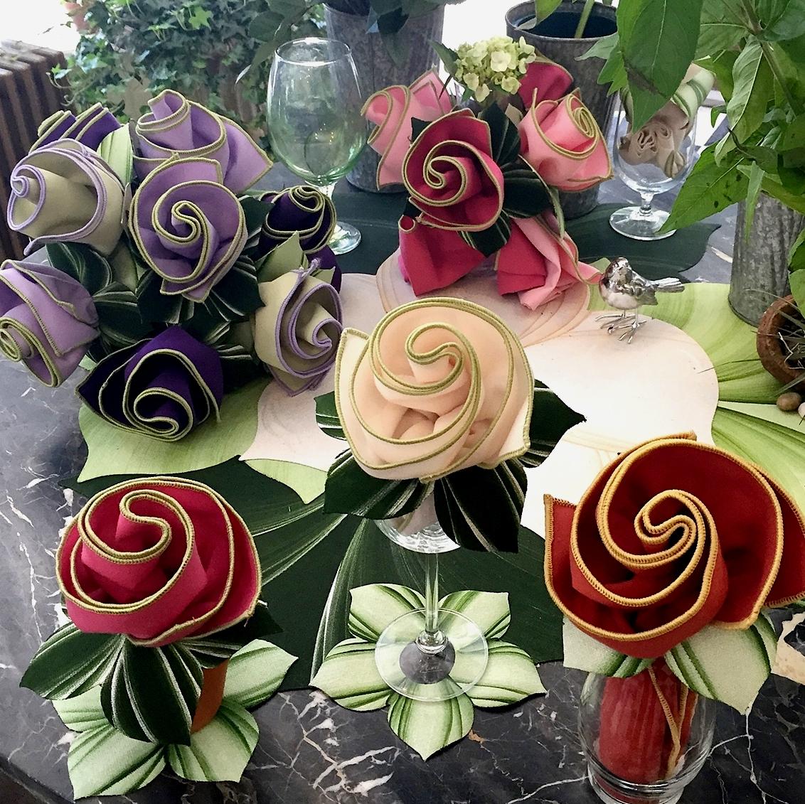 Carole Shiber Leafy Napkin Rings to Leaf Coasters Rose Napkins