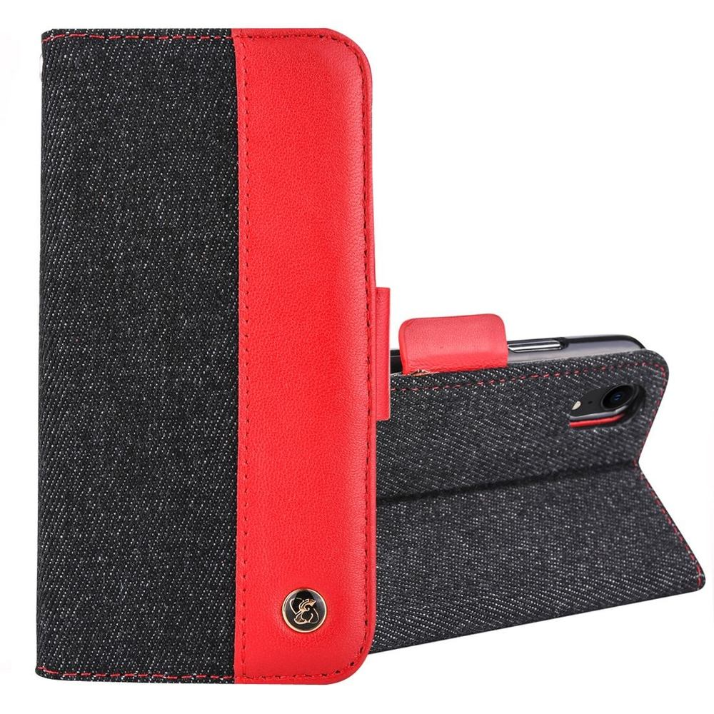 iPhone XR Black & Red 2-in-1 Denim Pattern Genuine Leather Cover with Card Slot and Stand-up Holder