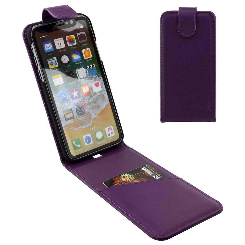 iCoverLover Purple Vertical Flip Genuine Leather iPhone XS & X Case