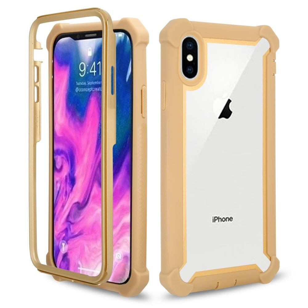 iPhone XS Max Case Gold Four-Corner Shockproof All-Inclusive Transparent Space Cover with Bumper Edges, Anti Slip Grip