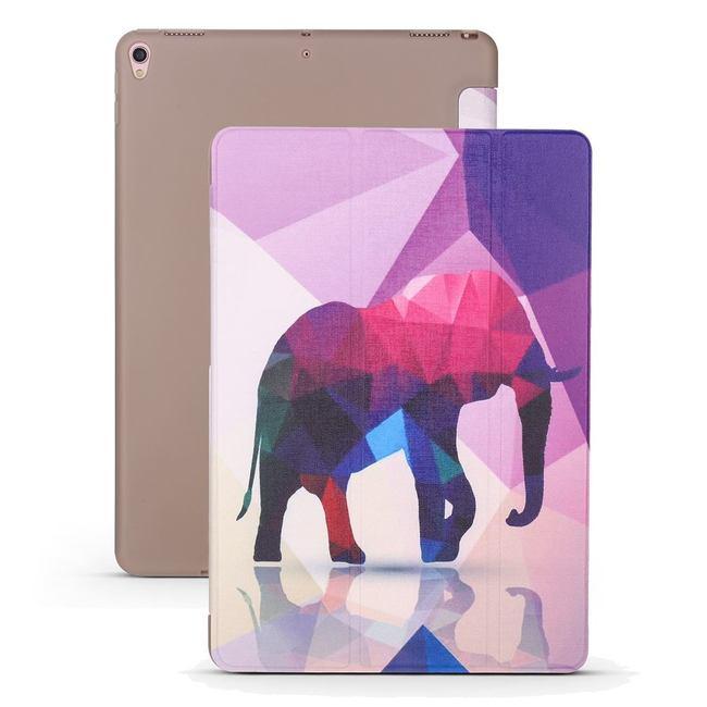 iPad Air 3 (2019) Case Elephant Pattern PU Leather & Honeycomb TPU Folio Cover