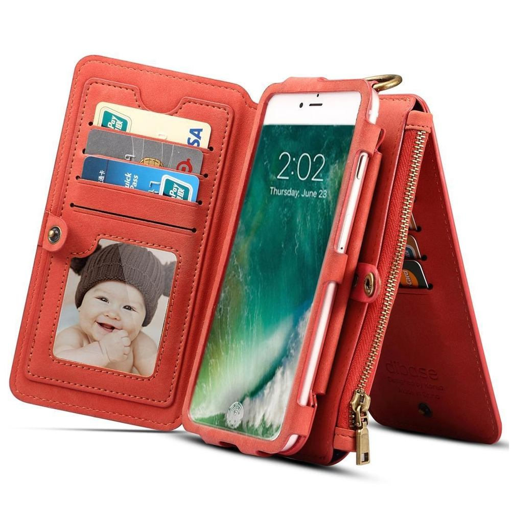Red Sheep Texture Leather Wallet iPhone XS & X Case