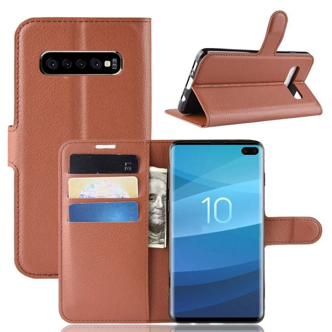 Samsung Galaxy S10 5G Brown Lychee Texture Horizontal Flip Leather Cover With 3 Card Slots & Stand