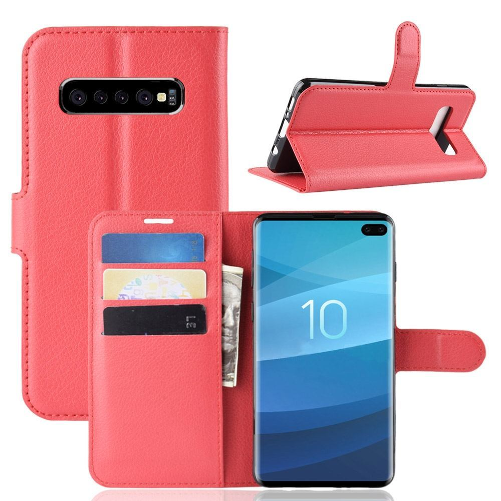 Samsung Galaxy S10 5G Red Lychee Texture Horizontal Flip Leather Cover With 3 Card Slots & Stand
