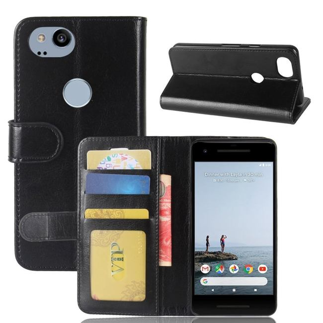 Black Wild Horse Leather Wallet Google Pixel 2 Case