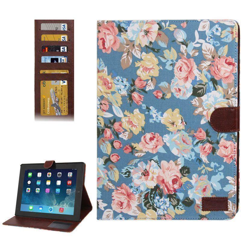 Blue Peony Leather Wallet iPad 2/3/4 Case